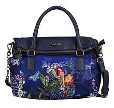 #Desigual Tasche - Modell Bols Loverty Birdpalm. Muster: floral, exotisch, blau.