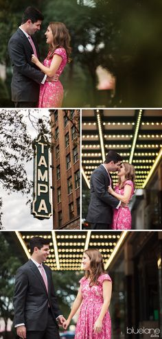Walking under the marquee at the Tampa Theater. Gray suit, pink tie, pink lace Anthropologie dress engagement photos, adorable! Downtown Tampa engagement session by Blue Lane Studios.