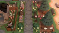 Animal Crossing Wild World, Animal Crossing Guide, Animal Crossing Villagers, Tree Bed, Motif Acnl, Path Design, Garden Animals, Cedar Trees, Island Design