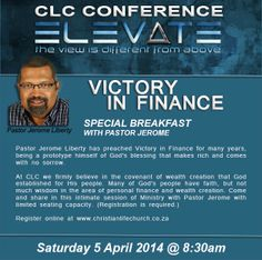 Victory in Finance Breakfast session with Pastor Jerome Liberty Saturday morning 5 April at Forever Hotel @ Centurion (registration required) Guy Names, Saturday Morning, Victorious, Conference, Liberty, Finance, God, Breakfast, Life