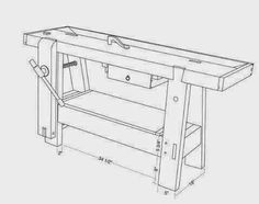 Ah! E se falando em madeira...: Bancada  Roy Underhill Small Workbench, Workbench Ideas, Wood Jig, Tool Bench, Work Benches, Storage Boxes, Wood Working, Woodworking Tools, Household