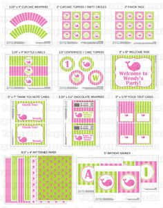 Printable DIY Pink and Green Whale Theme Girl Personalized SMALL Birthday Party Package