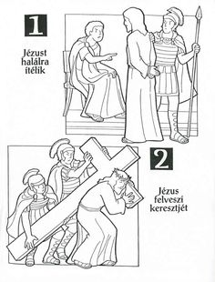 Sorozatok (A keresztút állomásai). Easter Coloring Pages, Colouring Pages, Catholic Tattoos, Easter Projects, Shipwreck, Lent, Print And Cut, Sunday School, Preschool