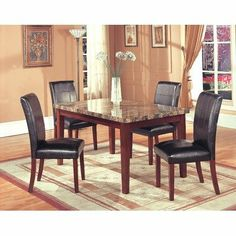 Hazelwood Home Five Piece Faux Leather Dinette Set in Brown by Home Source Industries. $744.44. 200-6206-605PC Includes: -Set includes one table and four side chairs. Options: -Chairs upholstered in faux leather. Color/Finish: -Brown finish. Assembly Instructions: -Assembly required.