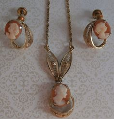 Vintage Shell Cameo Filigree Necklace and Earrings by StarliteVintageGems ~ SOLD
