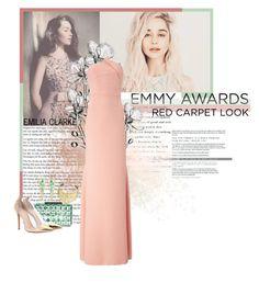 """Emilia Clarke / Emmy nominee"" by maeve666 ❤ liked on Polyvore featuring Waterford, Roland Mouret, BCBGMAXAZRIA, Gianvito Rossi, Pamela Love, Lana, EmiliaClarke and emmyredcarpet"