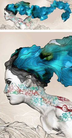 Repeating patterns in flowing hair extends reality in this interesting female portraiture