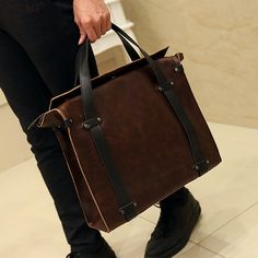 Vintage Brown men's briefcase can load 14 laptop by Selithelvebags
