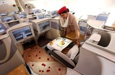 Business class section of an Emirates Airbus A380. Photo: Getty Images