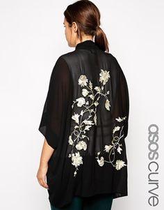 ASOS CURVE Exclusive Premium Kimono with Embroidered Back