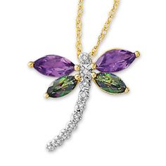 Mystic Topaz and Amethyst Dragonfly Pendant with Diamond Accents in 10K Gold - Zales