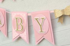 pink and gold baby shower decoration baby girl by lizabitsdesigns