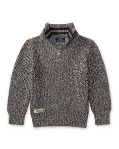 Ralph Lauren Cashlike Half-Zip Marbled Cotton Pullover, Multi, Size 2-4 3350e02e6b