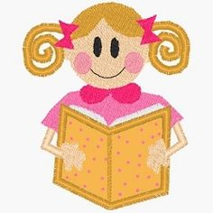 Reading Girl Applique- 2 Sizes for 4x4 Hoop! | back-to-school | Machine Embroidery Designs | SWAKembroidery.com Band to Bow