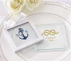 Nautical Wedding Personalized Glass Coaster Favor - Set of 12 for $11.99 at www.EventDazzle.com  |  Nautical Wedding Ideas   |  Nautical Wedding Favors  |  Dream Wedding