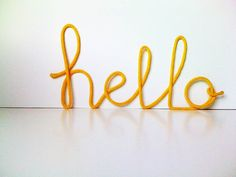 Big Yellow hello crochet cursive wire wall by SatarasWireCrafts, kr250.00