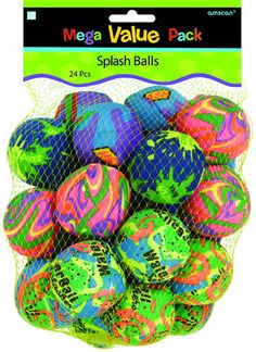 """Reusable """"water bombs"""" use in the pool or at your next water fight. Spongy splash balls absorb water and splash on your victim. Includes 24 splash balls"""