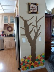 Thankful Tree • Each day in November your kids can think of something they're thankful for, write it on a leaf, then hang it on the tree. By the end of the month the tree is filled with colorful leaves and thankful thoughts.. So sweet!