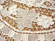 Grapes Leaves Antique c1920 Point Venise Needle Zele Lace Tablecloth 70x102   eBay