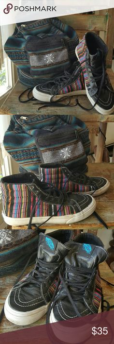 Vans High Top skateboard shoes Vans High Tops with  ethnic canvas and black leather .   This design is now out of stock and very hard to find .  Great with cut off shorts and cute top ... Vans Shoes Athletic Shoes