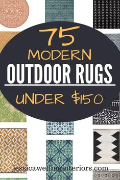 These modern indoor/outdoor rugs are the perfect thing to pull together an outdoor living room or seating area, porch, patio, or deck on a budget! Blue, Navy, Aqua, Teal, and more!