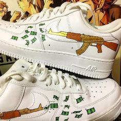 sports shoes 6bf33 1446f Ak47 money gundollarCustom Nike Air Force onecustom   Etsy Nike Air Force  Ones, Air Force