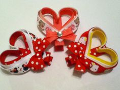 Valentine's Day Heart Ribbon Sculpture Hair Clippies Clip. $3.00, via Etsy.