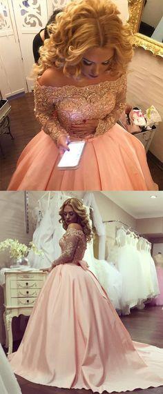 New Arrival Wedding Dress,Off-The-Shoulder Wedding Dress,Long Sleeves Wedding Dress,Pink Wedding Dress,Lace Wedding Dress,Wedding Dress,Wedding Dresses,2017 Wedding Dress,2017 Wedding Dresses