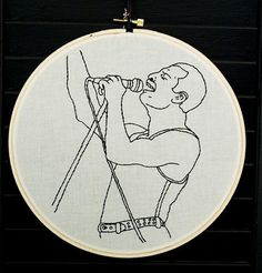 Embroidery of Iggy Pop, Hunter S. Thompson, Freddie Mercury, and Hand Embroidery Art, Flower Embroidery Designs, Shirt Embroidery, Learn Embroidery, Cross Stitch Embroidery, Embroidery Patterns, Japanese Embroidery, Freedy Mercury, Bordado Popular