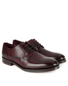 Leather derby shoe - Dark Red | Footwear | Ted Baker UK