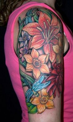 arm tattoos for girl wih colorful flower designs Arm Tattoos for Girl Half Sleeve