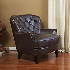 @Overstock - With deeply tufted back and studded perimeter, this club chair features deep brown colors to match your existing decor. You can relax in this chair in any room in your home in comfort and style.http://www.overstock.com/Home-Garden/Tafton-Tufted-Brown-Leather-Club-Chair/6045761/product.html?CID=214117 $369.99