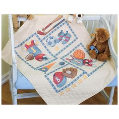 "Dimensions Baby Hugs Little Sports Quilt Stamped Cross-Stitch Kit - 34"" x 43"""