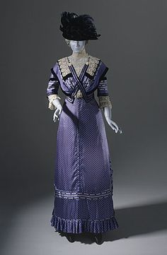 Dress: 1909-1911, dotted silk in two patterns, lace and velvet ribbon trim. LACMA Collections Online