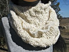 Knit Cowl, Infinity Scarf, White Alpaca Wool Cowl for Man or Woman, Circle, Loop Scarf, Great Gift by NorthStarAlpacas on Etsy
