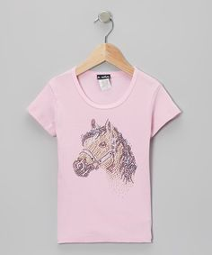 Pink Rhinestone Horse Short-Sleeve Tee - Infant Toddler & Girls