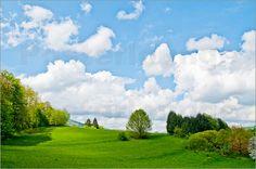 Natur pur Poster von Pirmin Nohr bäume Gebüsch grün himmel hügelig Landschaft natur schatten wiese wolken Wolken Wiesen
