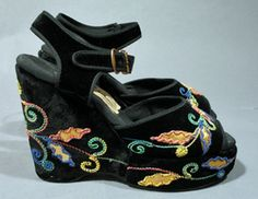 1940s Black Velvet Platforms with multi-color chain stitch embroidery