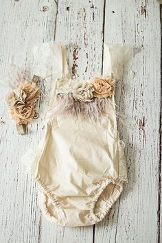 cee8f142a292 Spring Boho Chic White Lace Romper w Blush Sash   Headband. Newborn Baby  Girl Coming Home Outfit