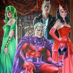 Family Royale - Magneto & Children (Polaris, Quicksilver and Scarlet Witch) - Oil on canvas by Fred Ian