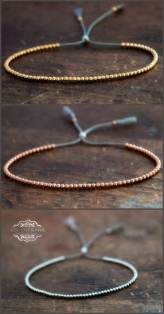 Delicate 14k solid Rose Gold beaded friendship bracelet. Yellow gold, rose gold, white gold by Vivien Frank Designs