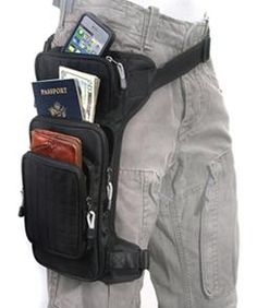 Motorcycle Rider Holster Bag. Strap around waist and leg to carry your phone, wallet, maps etc