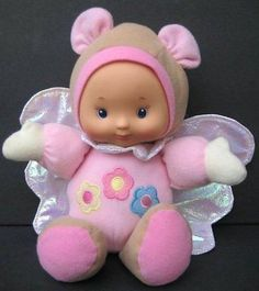 """9"""" Pink Butterfly DOLL Lovey & Rattle Squeaker Iridescent Wings CitiToy"""