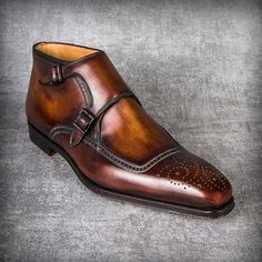 Cognac Patina Handmade Ankle High Boots for men custom leather shoe for men - Dress Shoes Men Leather Brogues, Leather Boots, Cowhide Leather, Real Leather, Soft Leather, Suede Leather, Leather Men, Brown Leather, Men's Shoes