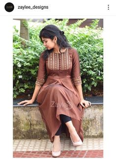Silk Kurti Designs, Simple Kurta Designs, Kurta Designs Women, Kurti Designs Party Wear, Long Dress Design, Dress Neck Designs, Stylish Dress Designs, Designs For Dresses, Dress Indian Style