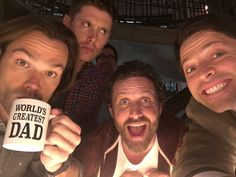 'Supernatural' stars (from left) Jared Padalecki, Jensen Ackles, Rob Benedict & Misha Collins Supernatural Fans, Castiel, Supernatural Bunker, Supernatural Seasons, Supernatural Fanfiction, Supernatural Pictures, Supernatural Convention, Dean Winchester, Winchester Brothers