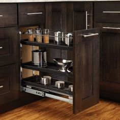 Rev-A-Shelf 548 Series Wide Three Tier Pull Out Base Organizer w Black Base Cabinet Organizers Pull Out Organizers Shelves Victoria's Kitchen, Kitchen Shelves, Kitchen Cabinets, Kitchen Island, Kitchen Ideas, Kitchen Design, Custom Cabinet Doors, Cabinet Door Styles, Cabinet Ideas