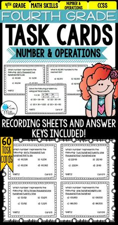 Easily reinforce math skills with these 60 task cards for 4th-grade Number and Operations in Base 10. These task cards are the perfect tool to use as the end of a unit for review. They are also easy to implement into math centers throughout the year. Other options include: math rotations, math groups, morning work, desk work, homework, summer review, and test prep.
