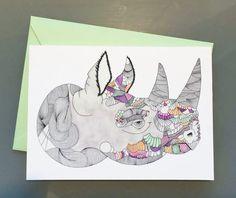 Rhino Greeting Card // Blank Card // Thank You // by DanaCusterArt