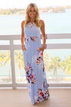 7a22be003f51 Maxi Dresses Blue Floral Maxi Dress